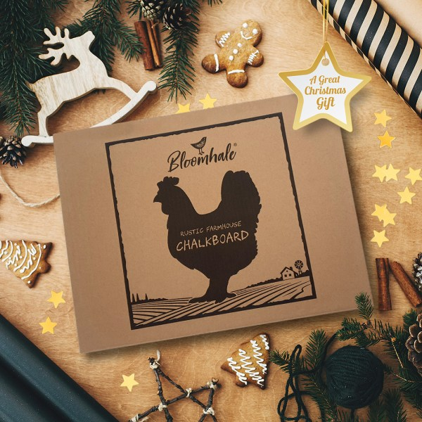 rustic chicken chalkboard - showing gift box with christmas decorations