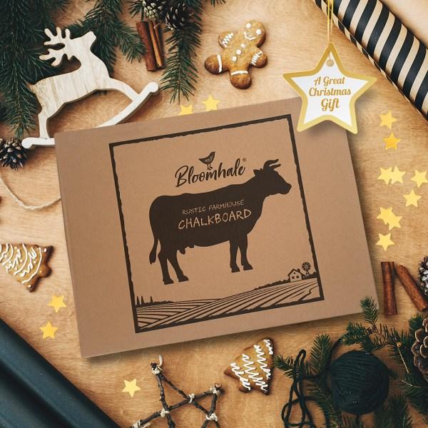rustic cow chalkboard - gift box