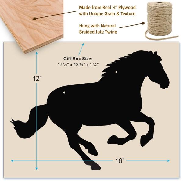 rustic horse chalkboard - dimensions