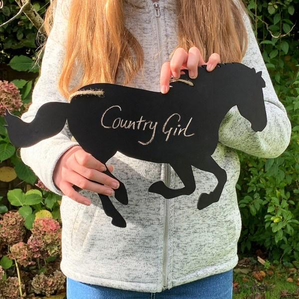rustic horse chalkboard - held in girl's hands
