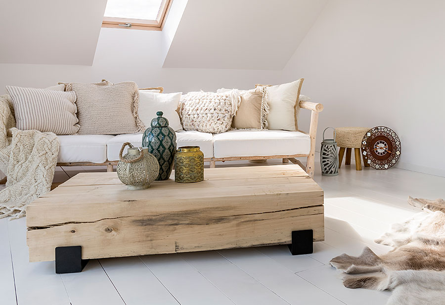 natural textiles and rustic furniture in loft lounge