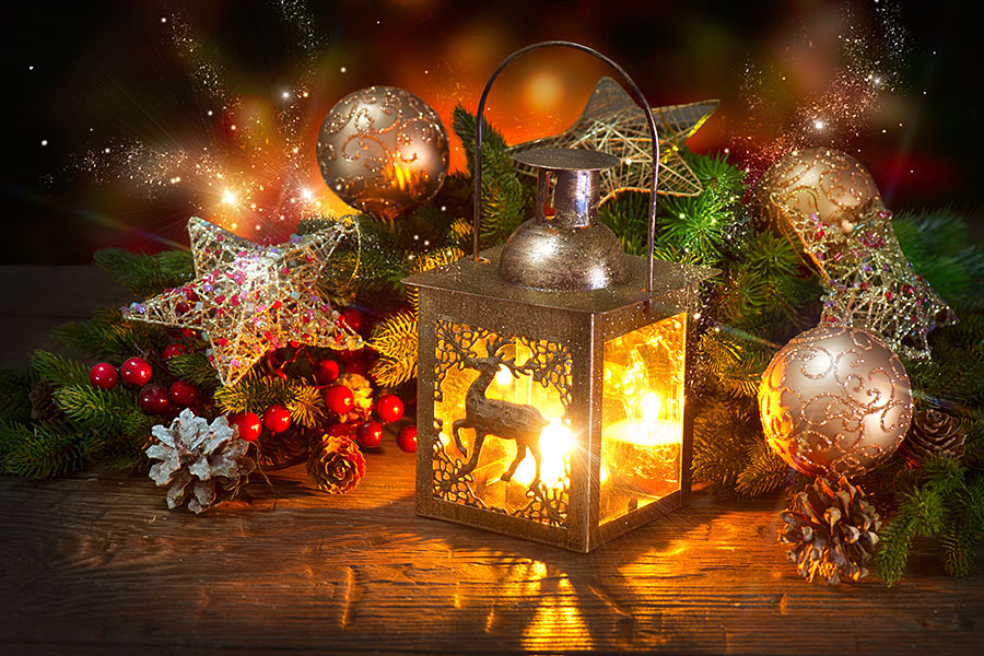 christmas scene with table lantern and decorations