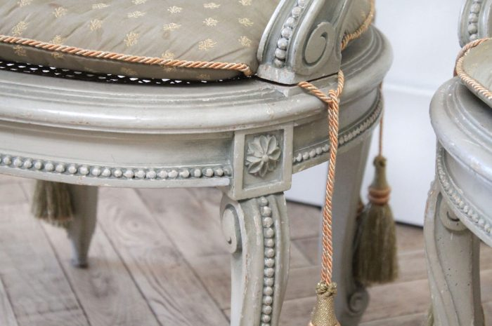 19th Century Painted Sheild Back Ribbon Carved Cane Open Armchairs
