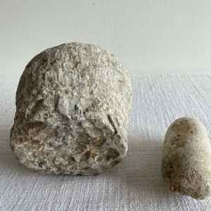 Antique Stone Mortar and Pestle Bowl Set
