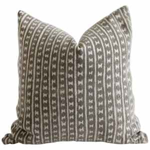 Vintage African Mali Mud Cloth and Linen Tribal Accent Pillow in Dark Brown