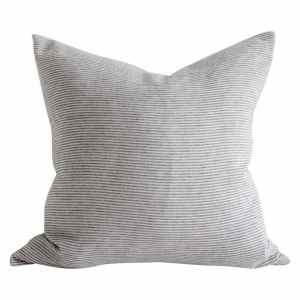 European Ticking Stripe Pillow Cover in Blue and Natural Linen