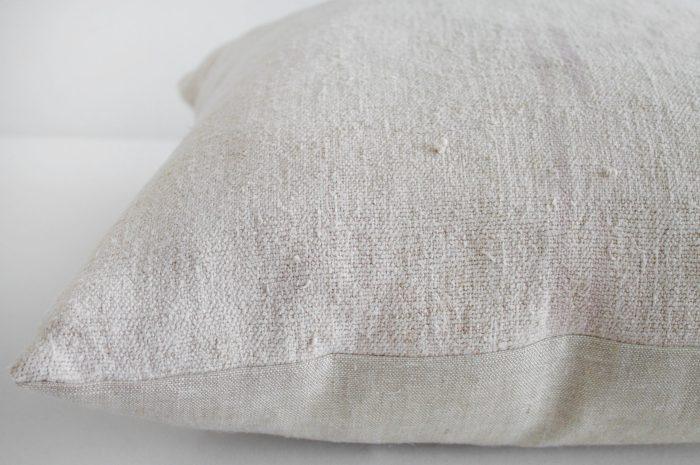 Vintage European Grain Sack Hemp Pillow with Pale Pink Stripes