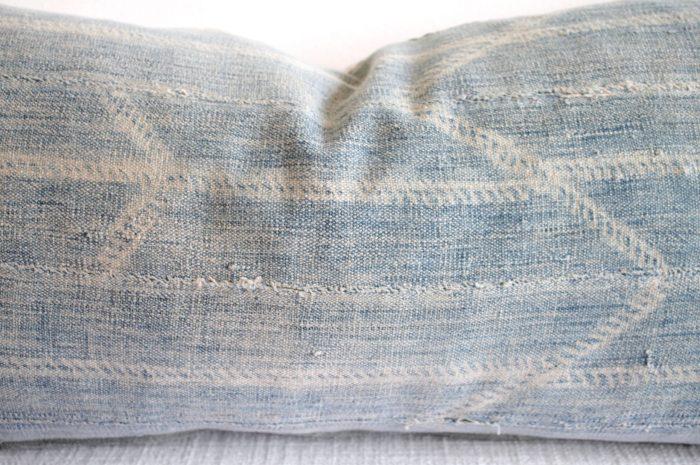 Custom Made Faded Indigo Tribal Lumbar Pillows with Original Fringe