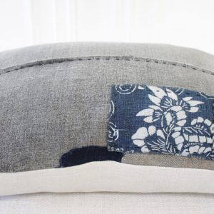 Vintage Japanese Boro Textile Accent Lumbar Pillow with Patchwork
