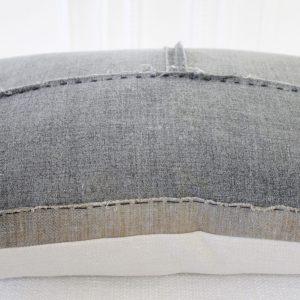 Vintage Gray Japanese Boro Textile Lumbar Accent Pillow