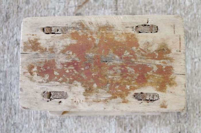 Vintage Antique Elm Wood Side Table or Stool