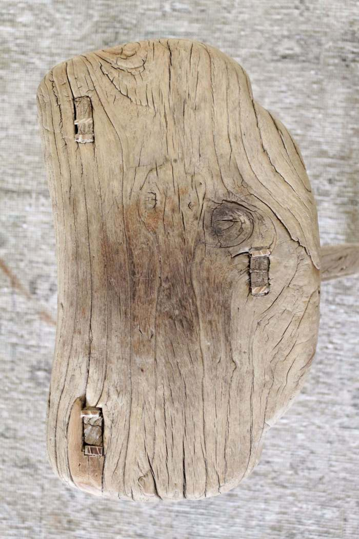 Vintage Saddle Shaped Elmwood Bench or Side Table