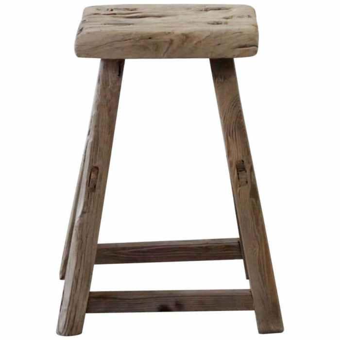 Vintage Antique Elm Wood Stool or Side Table