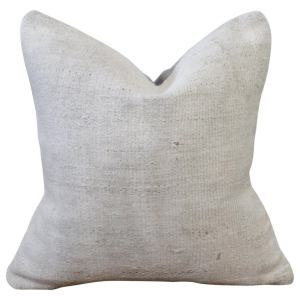 Vintage Hemp Pillow with Textured Pattern in Off White