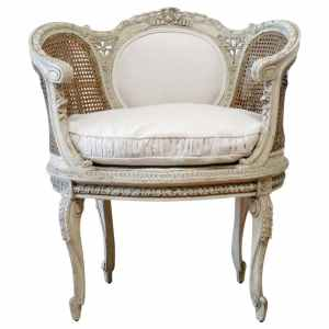 19th Century Painted French Cane Chair with Linen Slip Cover Cushion