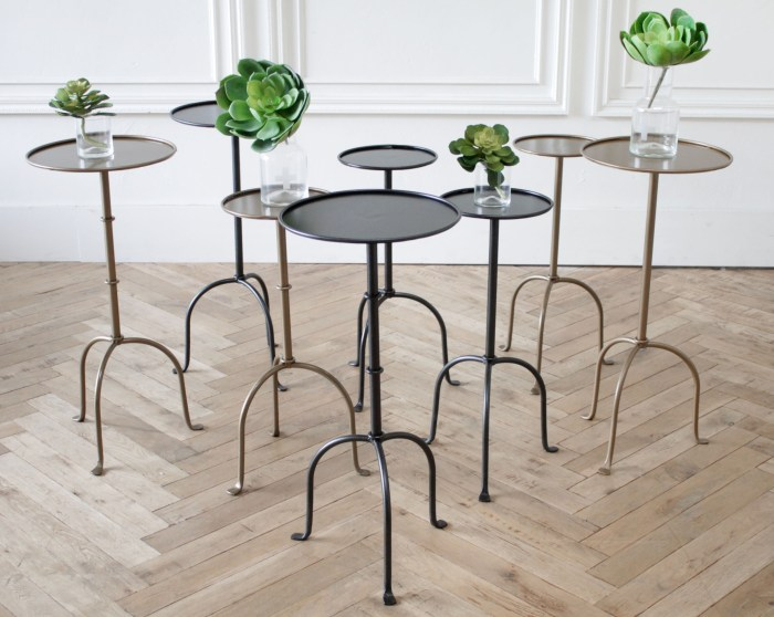 Lido Tall Iron Drink Table in Iron Finish or Brass Finish