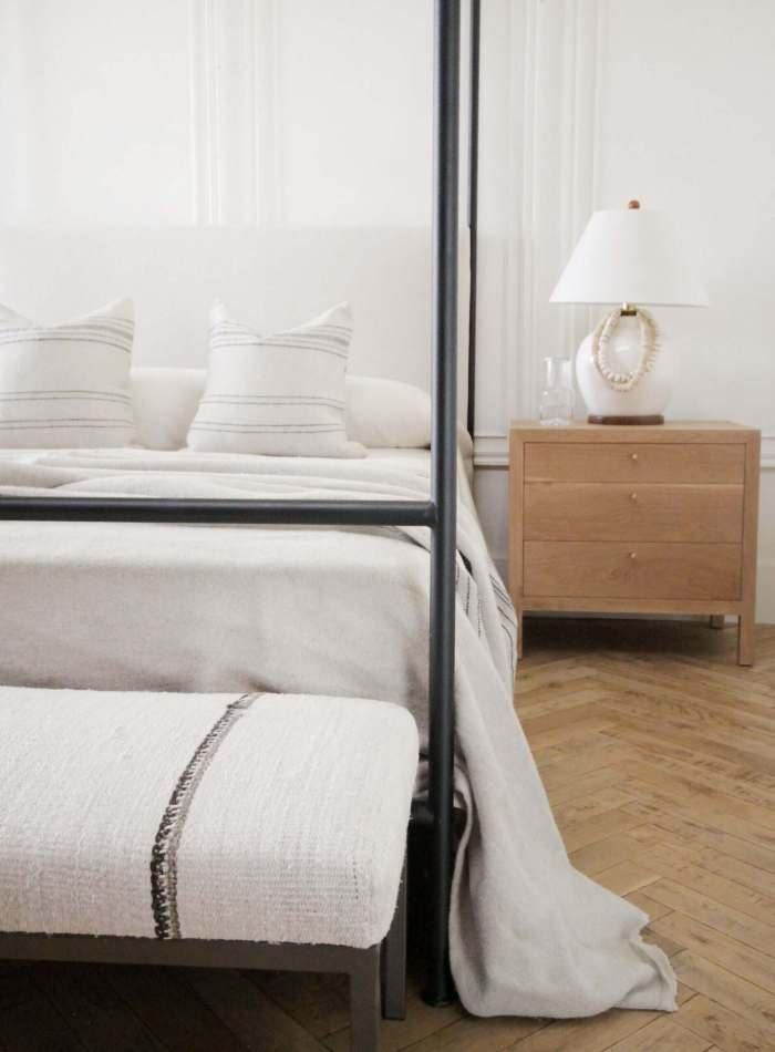Custom Made Iron Canopy Bed with Organic Belgian Linen Headboard