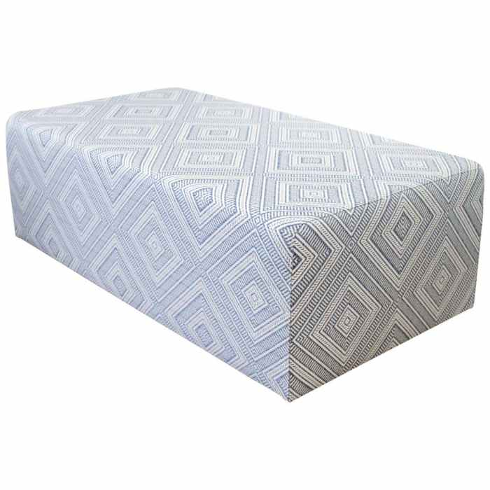 Custom Made Cube Cocktail Ottoman in Blue Diamond Fabric from France