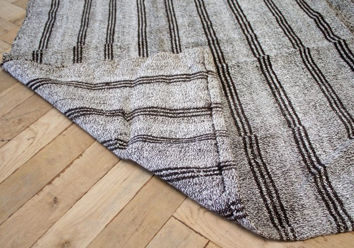 Vintage Turkish Flat-Weave Rug with Stripes