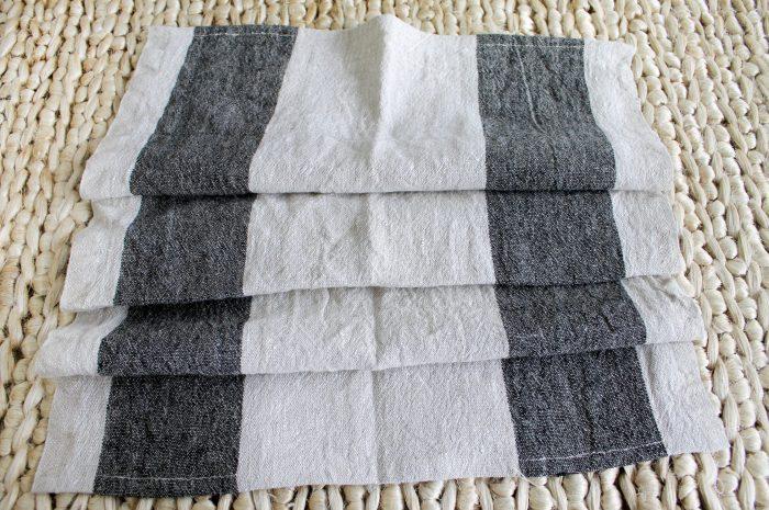 100% Belgium Linen Hand Towel in Wide Stripe