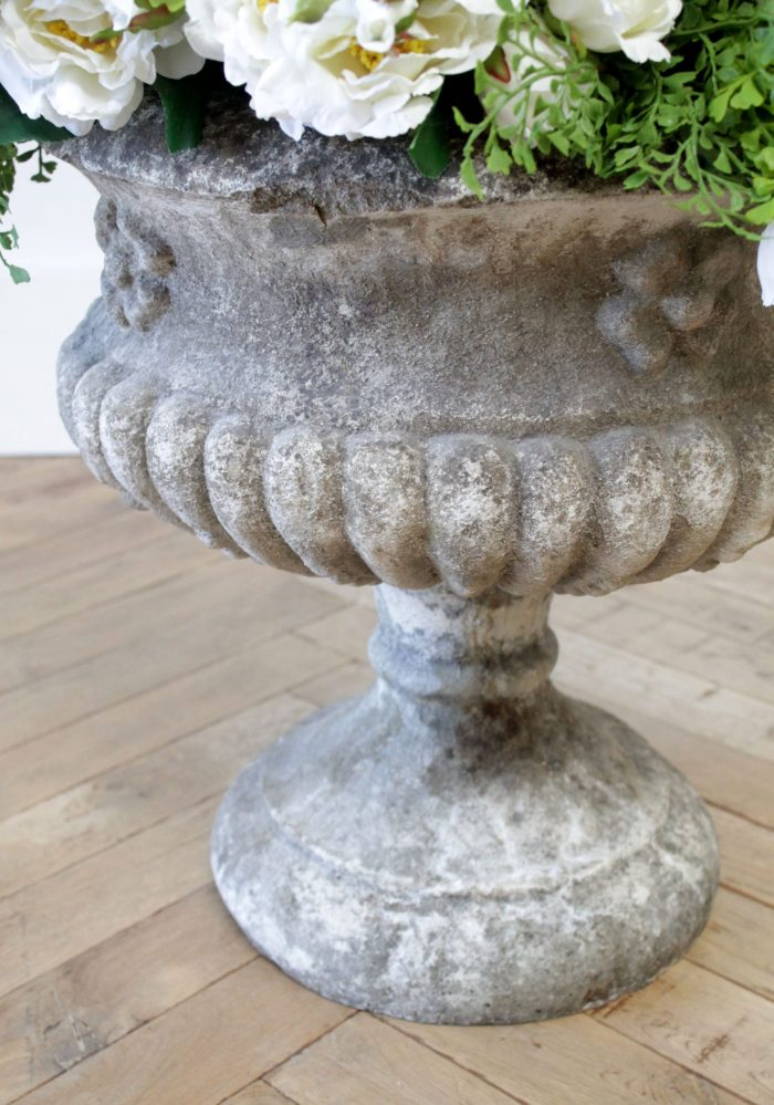 Pair of Early 20th Century Cast Stone Pedestal Urns