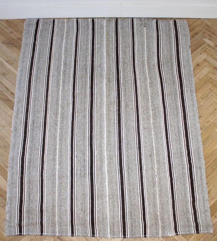 Vintage Turkish Flat-Weave Wool Rug in Brown and Creamy White Stripes