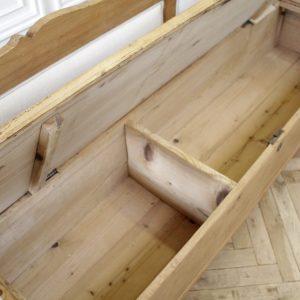 Rustic European Pine Bench Upholstered in Linen