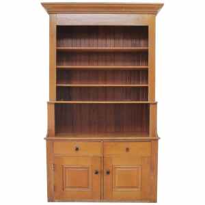 Large American Pine Country Cupboard with Bookshelf