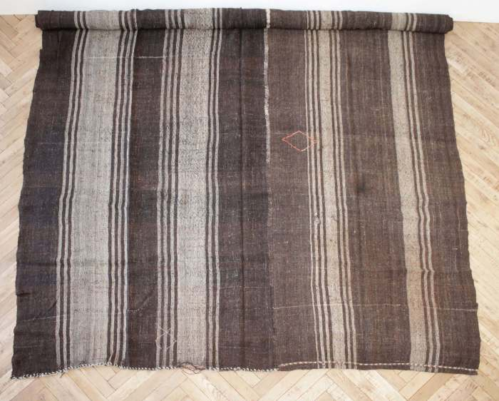 Vintage Turkish Flat Weave Rug in Brown and Taupe Stripes