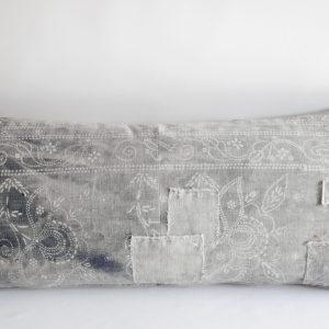 Antique Faded Gray and White Batik Lumbar Patchwork Pillow