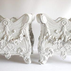 Pair of Rose Swag Painted White Metal Jardinières