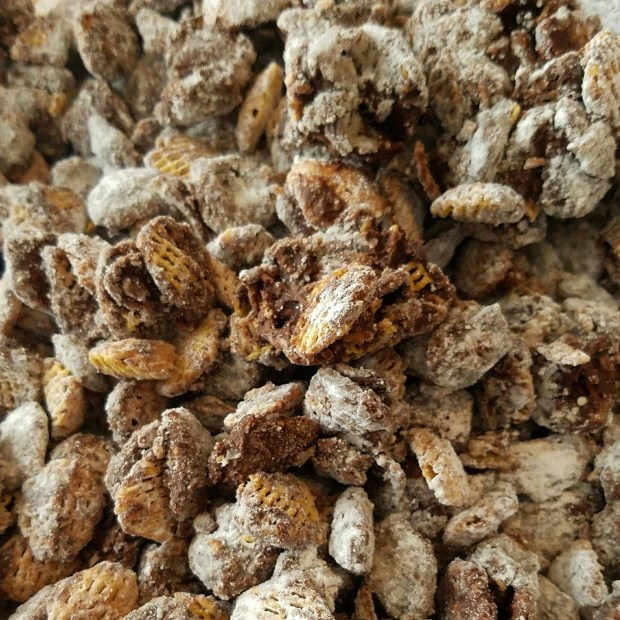 puppy chow, crunchy chocolate peanut butter snack