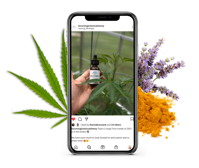 Blooming Botanicals Hemp instagram account mockup with hemp leaf, turmeric powder, and fresh lavender