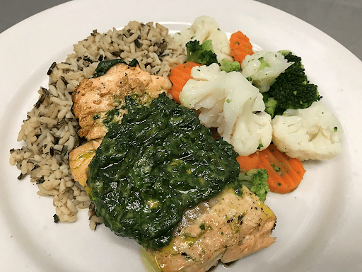 March Seafood Special – Basil Pesto Crusted Grilled Salmon