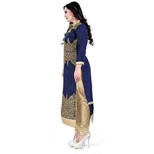 Siddeshwary Fab Blue And Beige Fancy Embroidered Self Designer Casual A Line Salwar Suit Dress Material