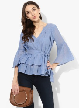 Blue Solid Blouse Top With Belt