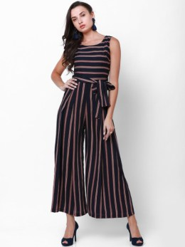 striped basic jumpsuit