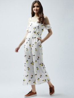 White Printed Basic Jumpsuit