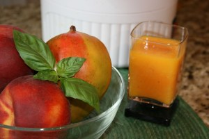 juicing peaches mangoes and basil