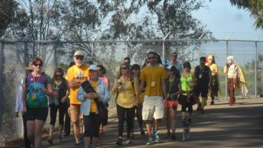 A group of our walkers coming around one of the bends, photo by Lisa Drayton
