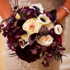 Burgundy and Ivory Bridal Bouquet