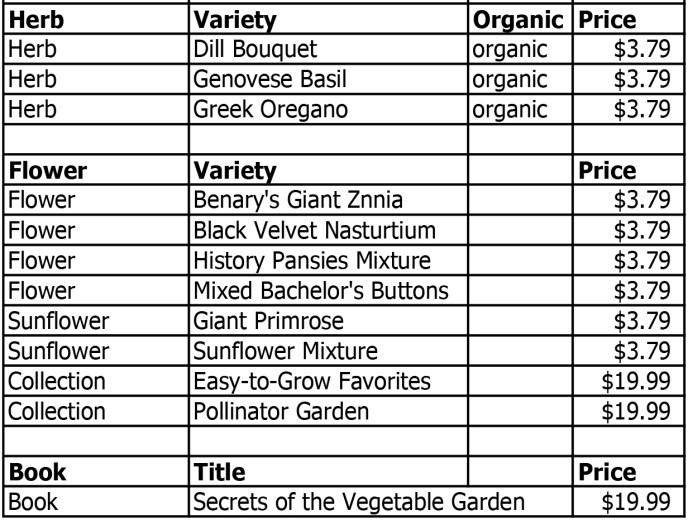 Seed Savers 2020 herbs-flowers