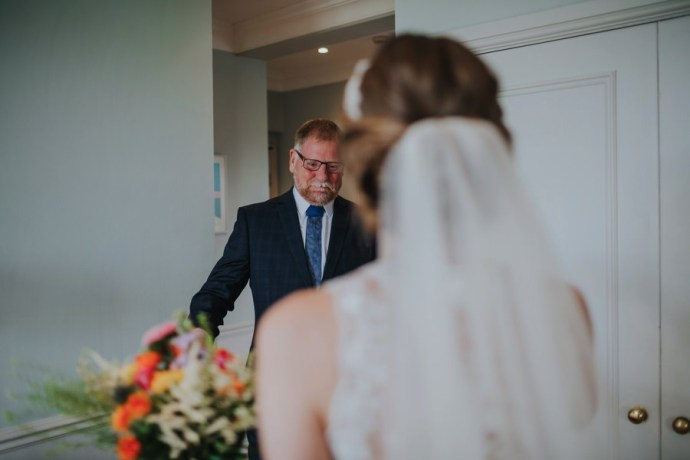 dad seeing bride at the devonshire fell wedding