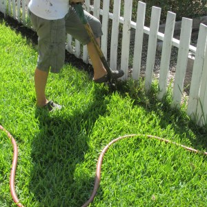 Trenching around the garden. Boy, I wish I had done this in the first place!