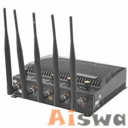 El teléfono móvil más potente bloqueador de señal Refrigerado GSM800, GPS, CDMA900, DCS / PHS / GSM1800-1900, 2.4GHz Wifi y 3G listo para enviar