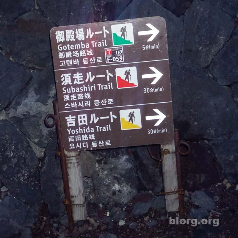 mount fuji hiking trail sign