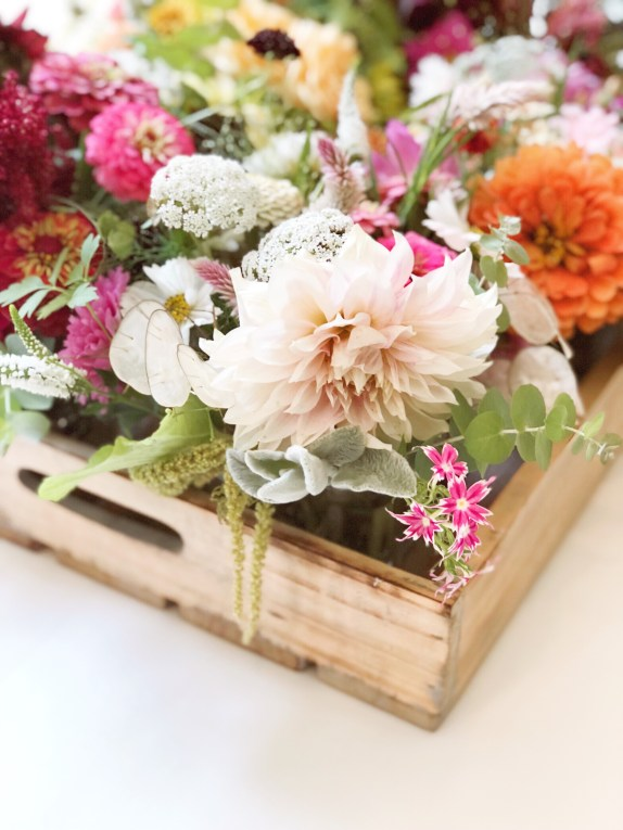 Summer blooms with dahlias and zinnias