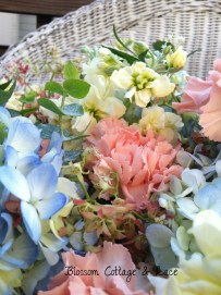 The flowers and colors I was working with: Stock, hydrangea, carnation, festival bush, eucalyptus, and tea roses.