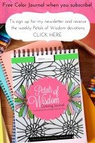 Sign up for my newsletter and receive the Petals of Wisdom Color Journal free!