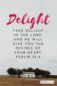 """""""Take delight in the Lord, and he will give you the desires of your heart."""" Psalm 37:4"""